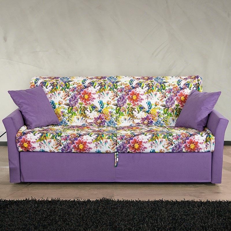 divano letto atena, sofa with floral pattern
