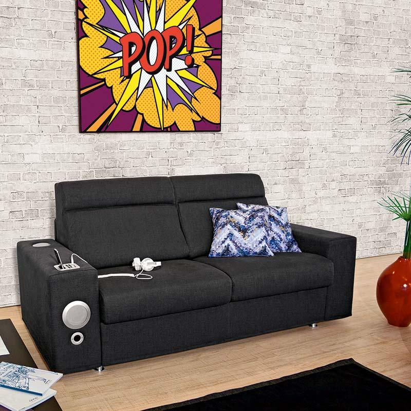 divano con impianto audio, sofa with sound system